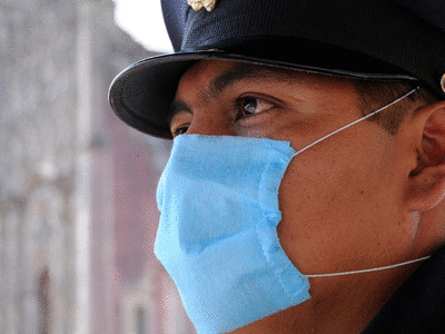 police officer with face mask